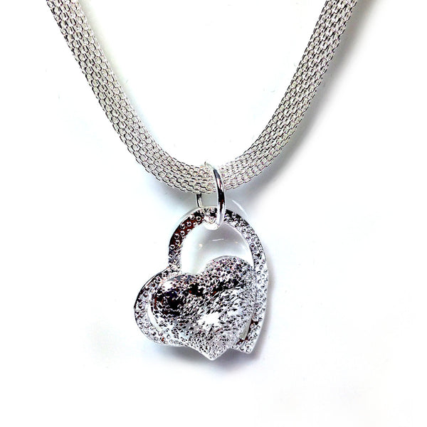 """Vivianne"" Silver Mesh Heart Necklace"