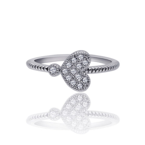 """Heartiz"" Resize Silver Heart Austrian crystal Elements Ring"
