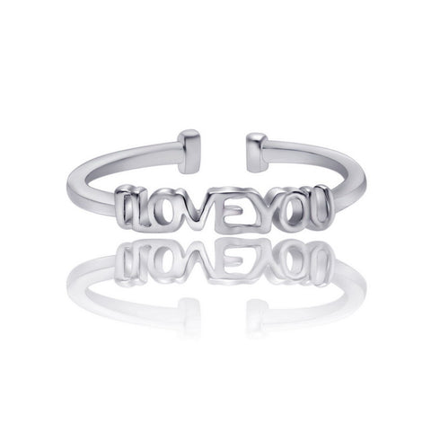 """I love you"" Resize Silver Ring"