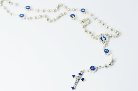 Miraculous Medal Rosary Blue with Matching Case