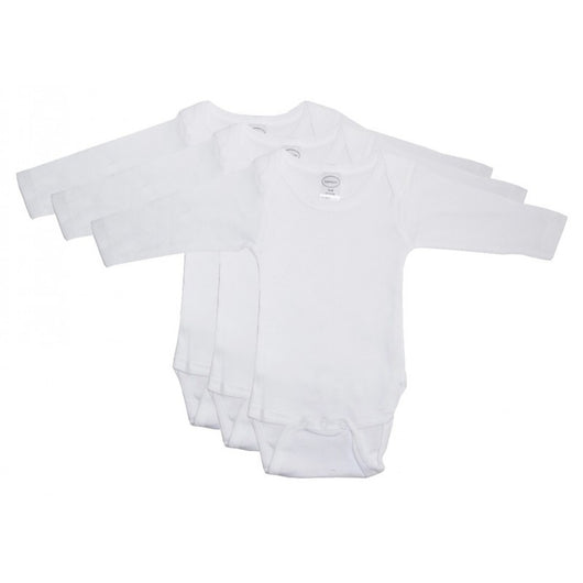 Bibi&Sam Rib Knit White Long Sleeve Onezie 3-Pack - BIBI & SAM