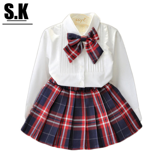 Casual Plaid Girls Clothing Sets White Shirt - BIBI & SAM