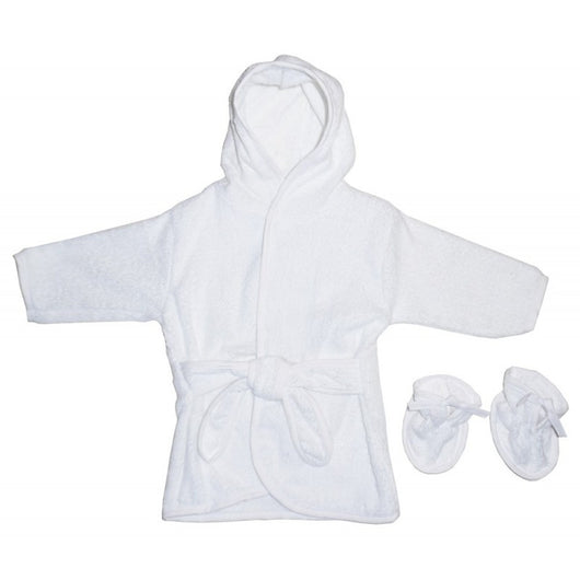 White Terry Hooded Bath Robe - BIBI & SAM