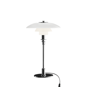 Poul Henningsen 3/2 table lamp with opal glass shades produced by Louis Poulsen