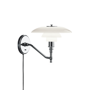 Poul Henningsen 3/2 wall lamp with opal glass shades produced by Louis Poulsen