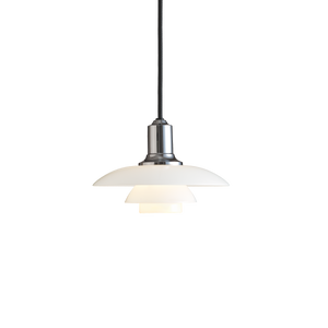 Poul Henningsen 2/1 pendant with opal glass shades produced by Louis Poulsen