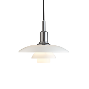 Poul Henningsen 3/2 pendant with opal glass shades produced by Louis Poulsen