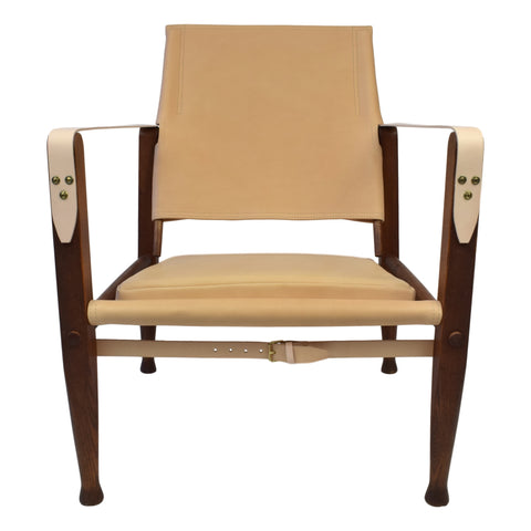 Kaare Klint safari chair with vegetable aniline leather upholstery, patinated ash frame