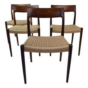 Niels O. Møller set of four rosewood dining chairs model 77 made in Denmark by J.L. Møllers