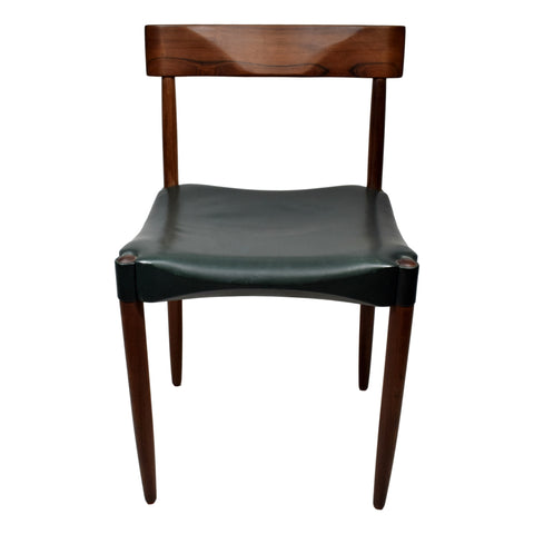 Rosewood chair by Anders Jensen with green leather upholstery, made in Denmark