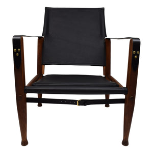 Kaare Klint safari chair with new aniline leather upholstery, patinated ash frame