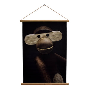 Kay Bojesen monkey photo portrait, produced by Kay Bojesen Denmark, cotton canvas, 40x56 cm