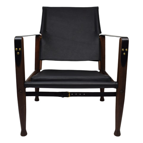 Kaare Klint safari chair with new aniline leather upholstery, patinated dark stained ash frame