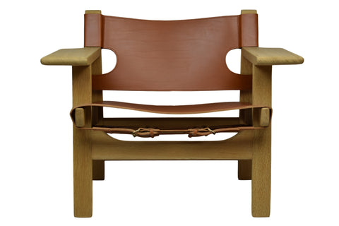 The Spanish Chair by Børge Mogensen, model 2226, cognac full-grain leather upholstery, brass buckles, made in Denmark