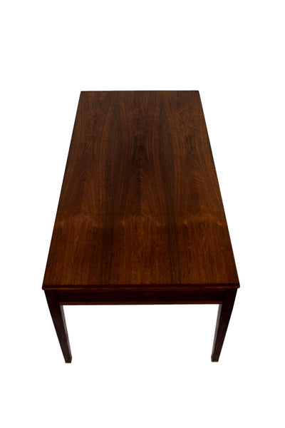Danish mid century coffee table by Frits Henningsen, four drawers, brass handles