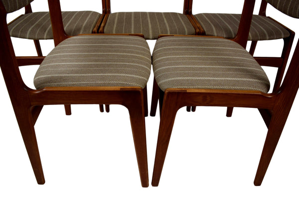 A set of five Danish mid century dining chairs by Erik Buch, teak, woolen fabric