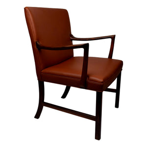 Ole Wanscher rosewood armchair produced by A.J. Iversen with cognac aniline leather upholstery