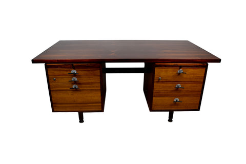 Mid century rosewood desk by Jens Risom with y-handles and adjustable legs