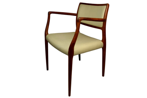 MId century armchair, Niels O. Møller, model 65, teak and leather, J.L. Møllers