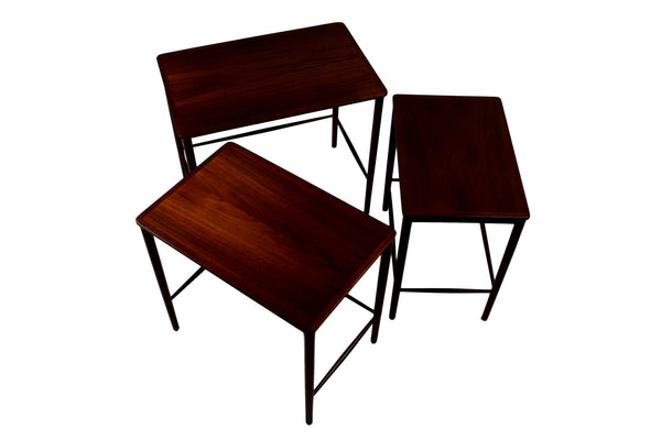Three mid century nesting tables by Kaj Winding, teak,  P. Jeppesens Møbelfabrik