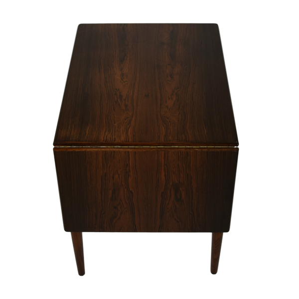 Danish Mid Century Sewing Table with Drop Leaf by Johannes Andersen, Rosewood
