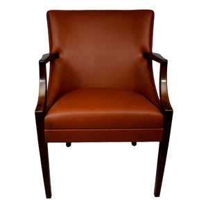 Mahogany armchair by Ole Wanscher, produced by cabinetmaker A.J. Iversen, aniline leather upholstery