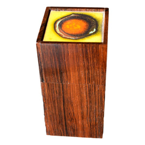 Danish mid century rosewood box by Alfred Klitgaard with enamel by Bodil Eje