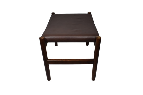 Danish mid century rosewood ottoman by Spøttrup, brown leather, stamped