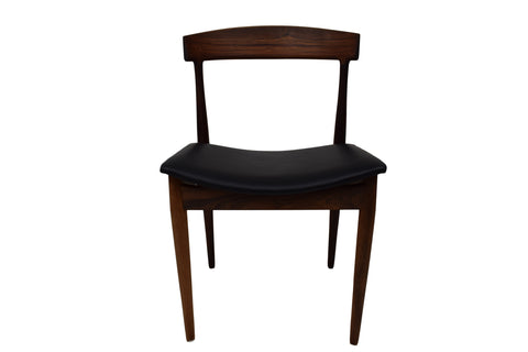 Danish mid century rosewood chair, black aniline leather upholstery