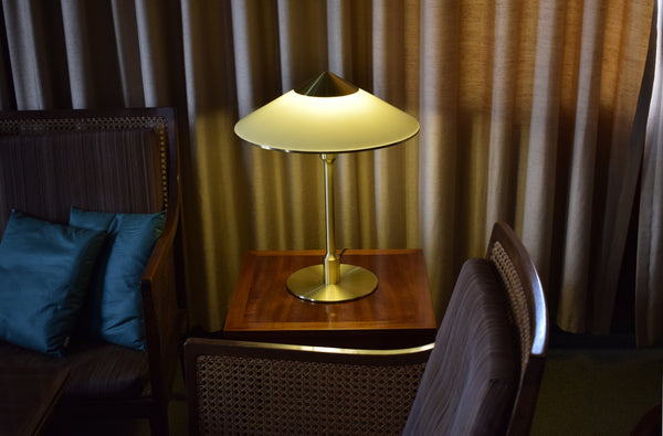 Midcentury table lamp by Fog & Mørup, brass stem and plastic shade