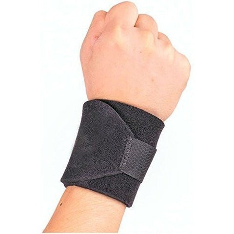 Wrist Support Wrap Band with Adjustable Fastener Strap (Black)
