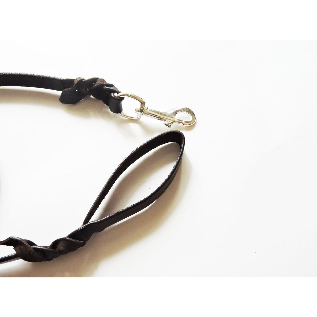 Leather Dog Leash with Brass Snap Hook 6 Feet Long