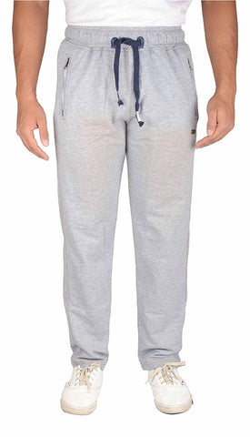 Trend Crown Men's Straight Track Pant with Zipper Pockets (Light grey)