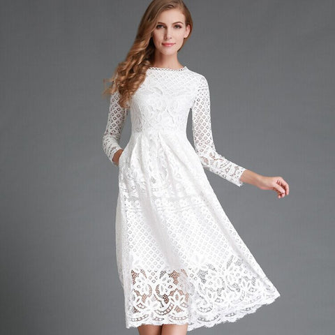 Autumn Fashion Hollow Out Elegant White Lace Elegant Party Dress
