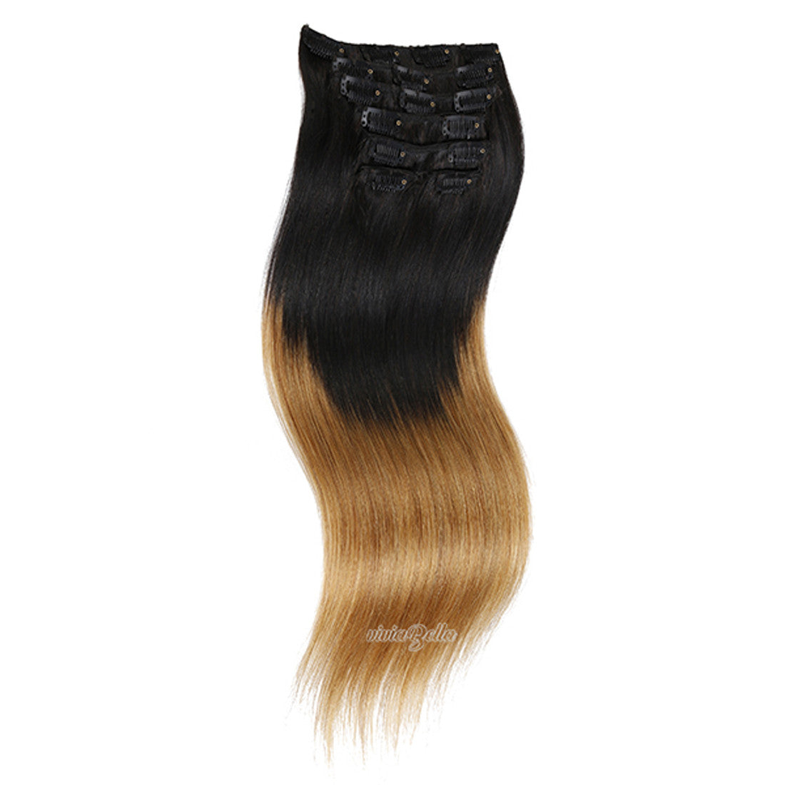 Straight Clip In Ombre Black Root Virgin Human Hair Extension