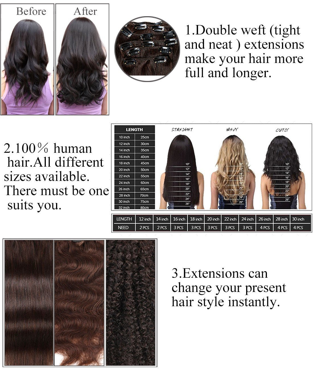 Ombre Hair Extensions Clip In Human Hair Brazilian Virgin Hair