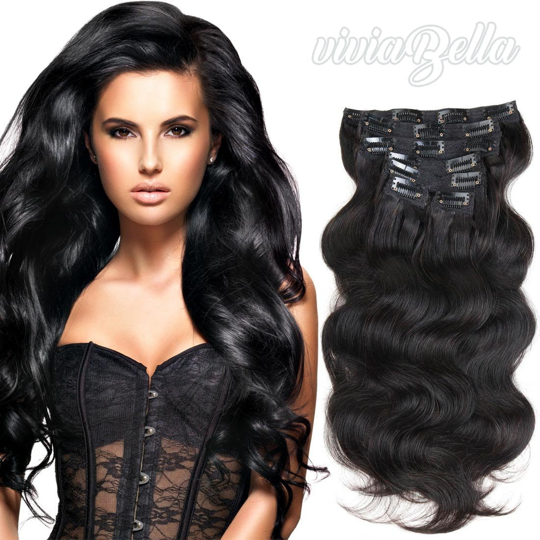 Full Head Clip In Hair Extensions Body Wave Human Hair Brazilian