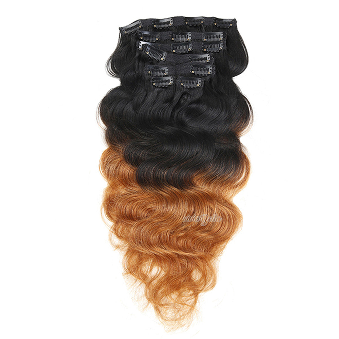 Ombre Black To Brown With Blonde Clip In Body Wavy Virgin Human Hair