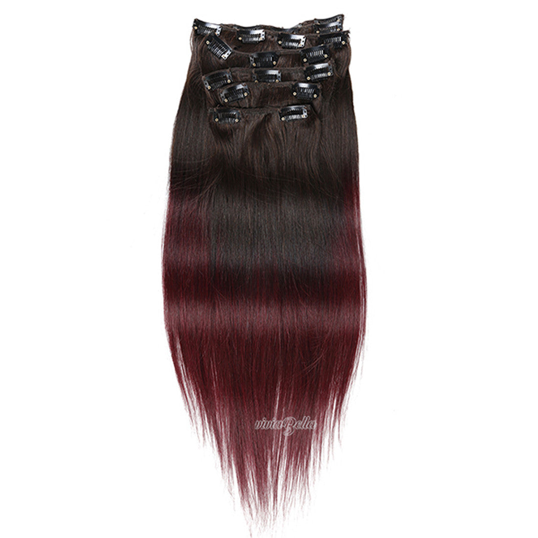Straight Clip In Ombre Dark Brown With Copper Red Virgin Human Hair