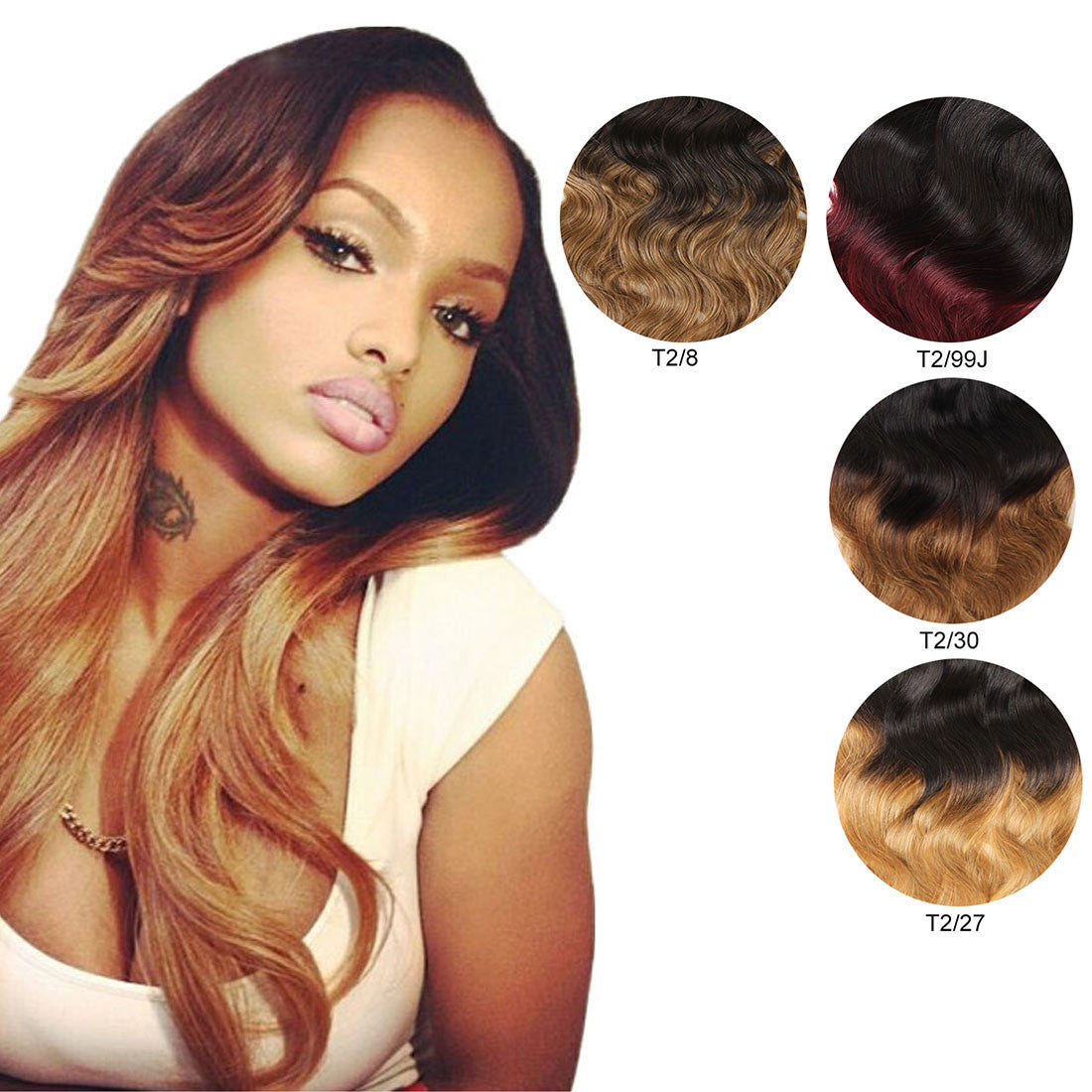 Ombre Dark Brown With Copper Red Clip In Body Wave Virgin Human Hair