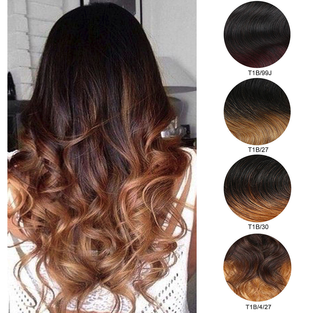 Ombre Black To Brown With Honey Blonde Clip In Body Wavy Virgin Human Hair Extension