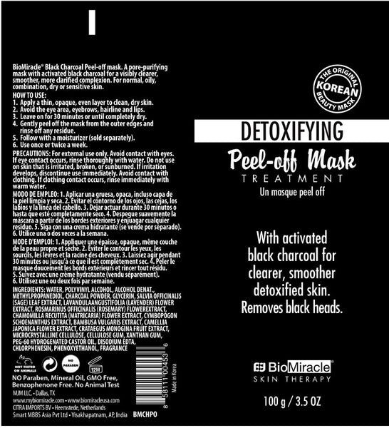 Ingredients - BIO-MIRACLE Charcoal Peel Off Mask