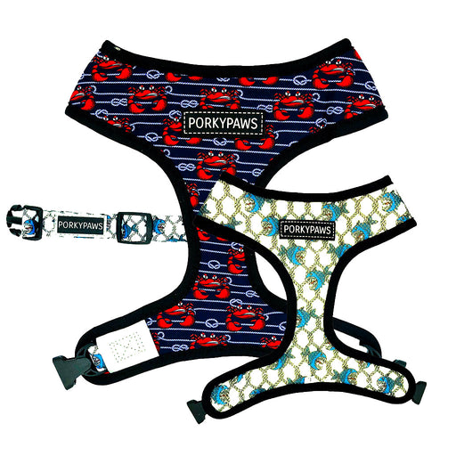 Reversible Form-Fitting Breathable Neoprene Dog Harness in 'Crabby'