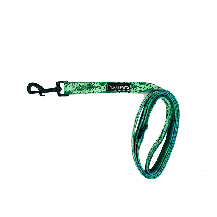 Porkypaws Dual Design Dog Leash in 'Alligator'