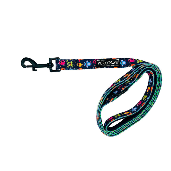 Porkypaws Dual Design Dog Leash in 'Purple People Eater'