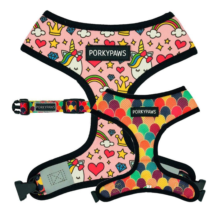 Reversible Form-Fitting Breathable Neoprene Dog Harness in 'Pretty Unicorn'