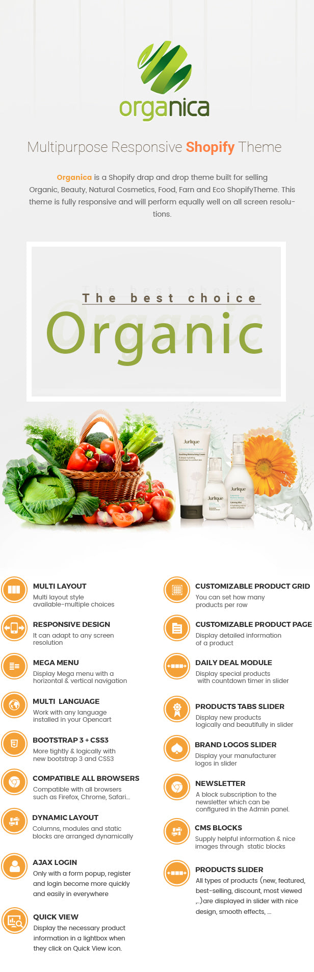 Organica - Organic, Beauty, Natural Cosmetics, Food, Farn and Eco drag and drop Shopify Theme