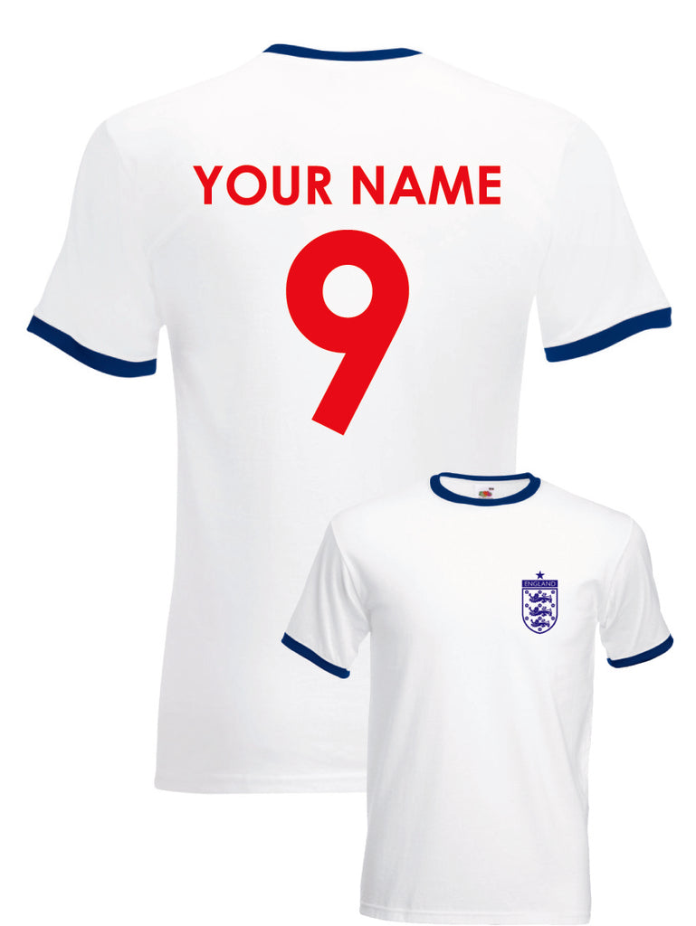 England Football Personalised Ringer T-shirt