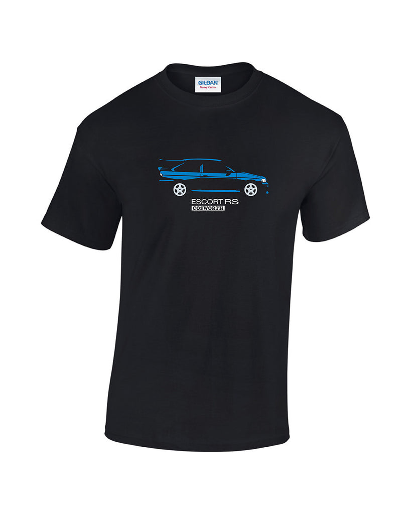 Ford Escort Cosworth T Shirt. Exclusive to Rinsed, this Cossie T-Shirt is available in 2 print colours on a 100% cotton black t shirt.