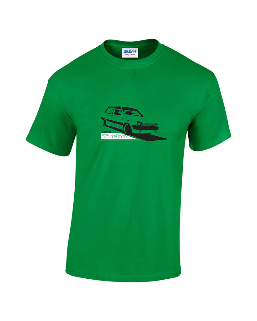 Retro 80's car t-shirt featuring the MG Metro, a supermini car developed by the Austin Rover group. This t-shirt will be printed using top quality vinyl on a heavyweight t-shirt and is available in 5 colours. Mens MG Metro Turbo T Shirt. The Austin Rover